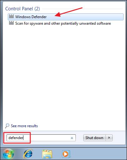Run Windows Defender - Step 1