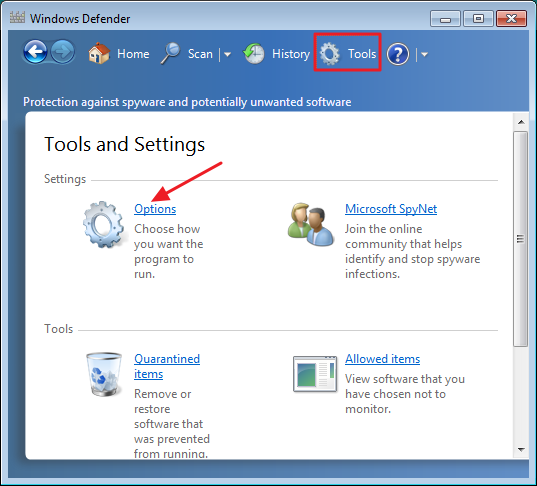 Windows Defender Options - Step 2